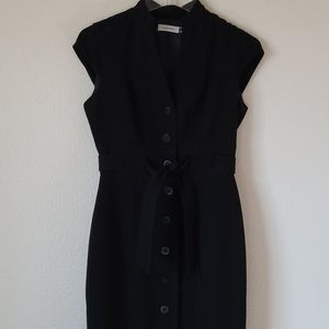 Calvin Klein Button Front Fitted Cap Sleeve Dress
